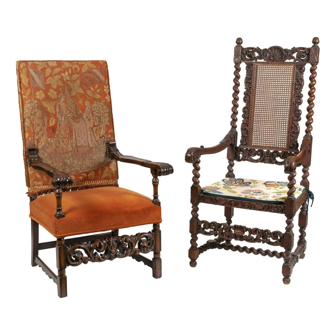 Antique Arm Chairs - Needlepoint & Cane