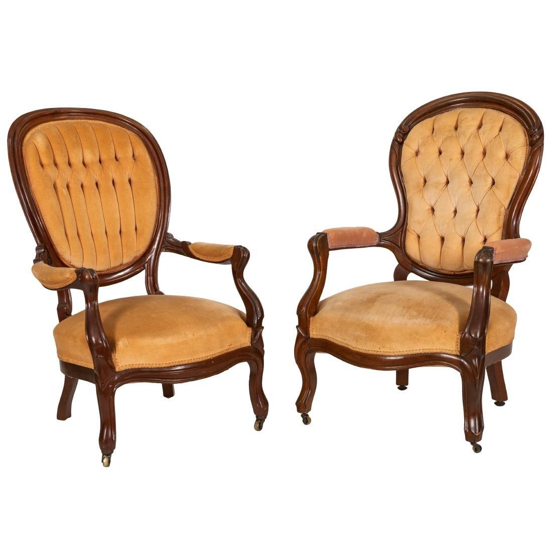 Victorian Arm Chairs - Pair