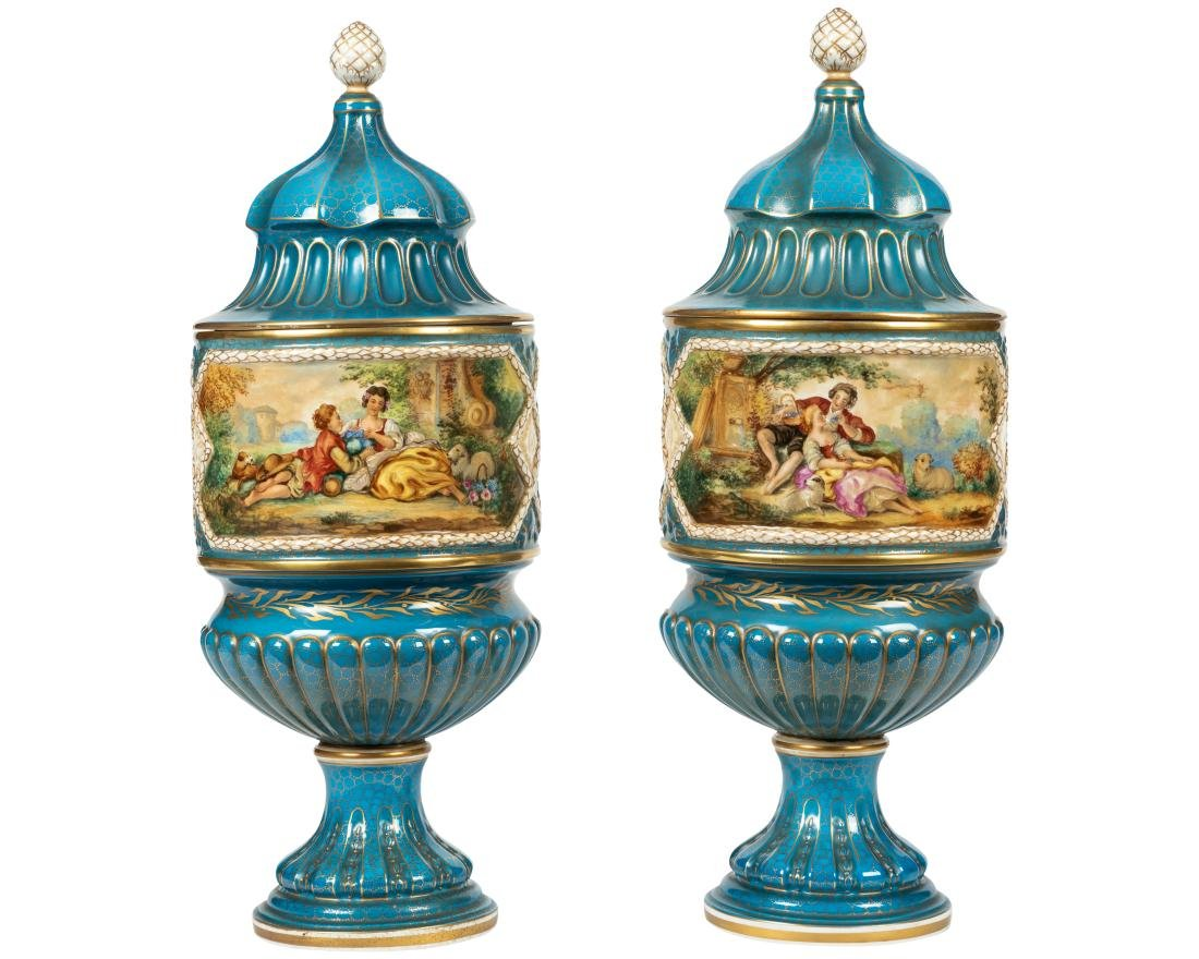 Dresden Porcelain Covered Urns