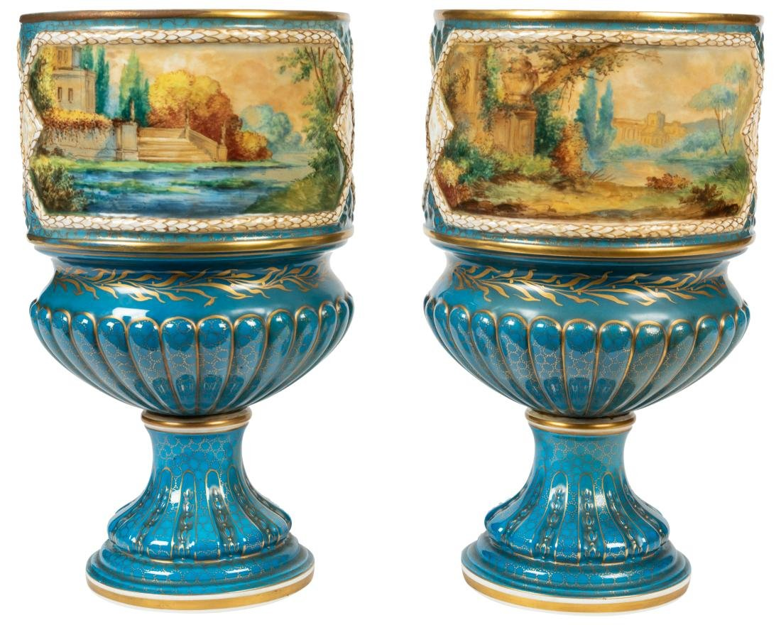 Dresden Porcelain Covered Urns - 2