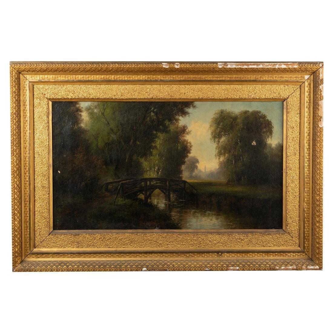 Victorian Oil on Canvas - Bridge in Landscape