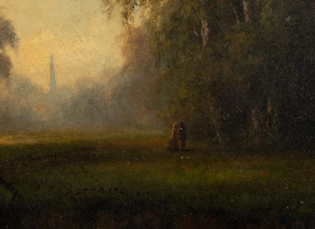 Victorian Oil on Canvas - Bridge in Landscape - 3