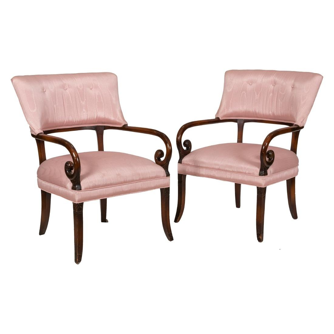 Regency Style Mahogany Arm Chairs