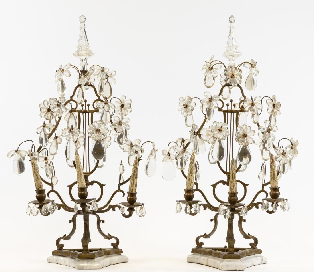 French Bronze, Marble & Crystal Girandoles