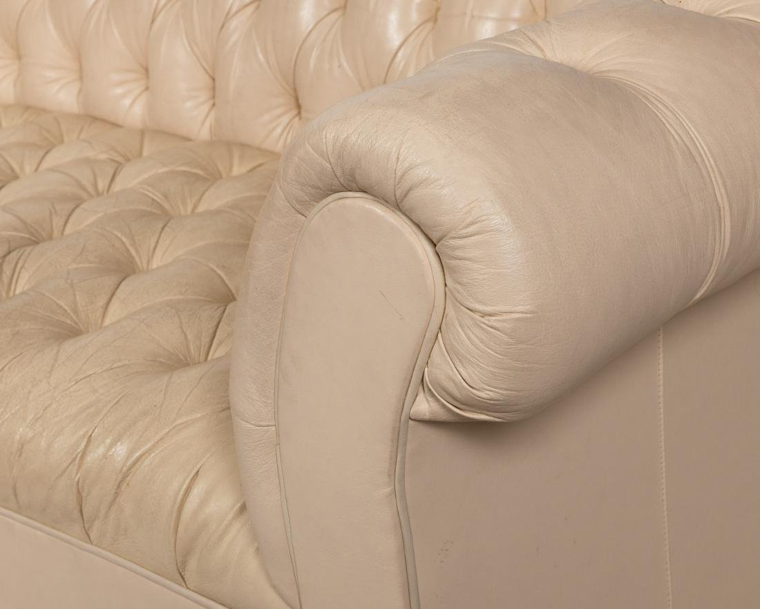 White Leather Chesterfield Sofa - 2