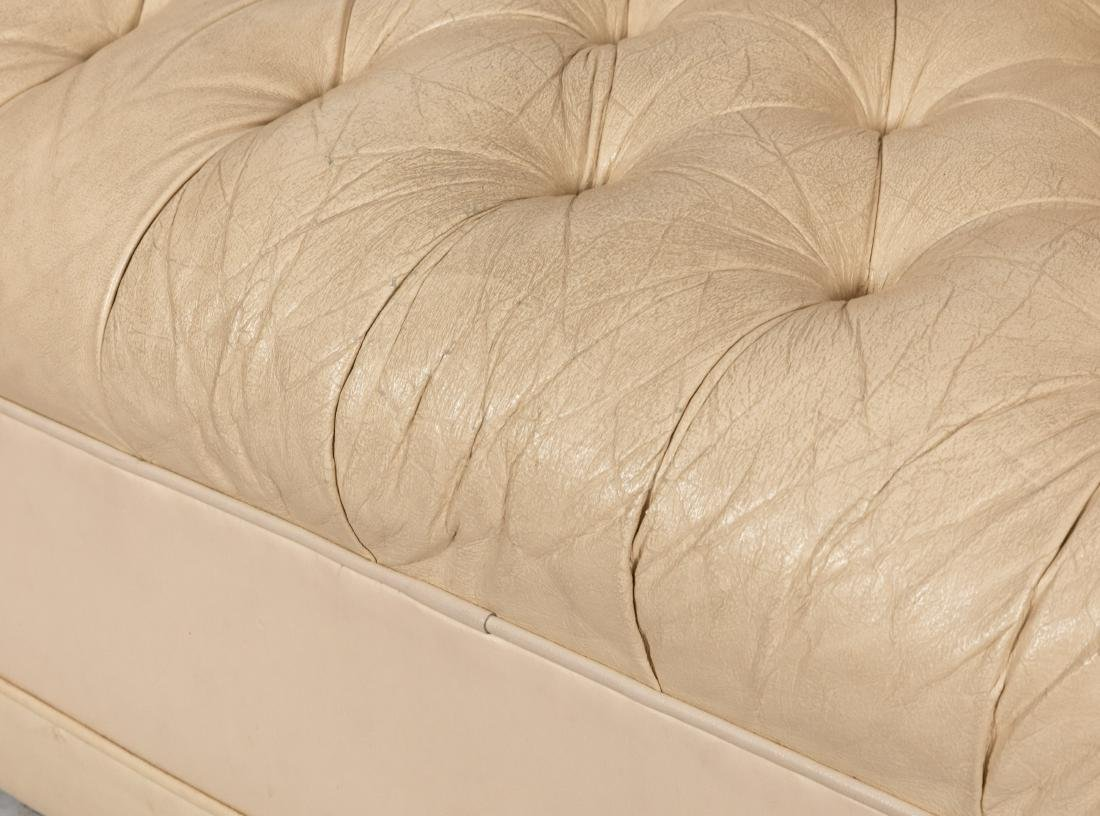 White Leather Chesterfield Sofa - 4