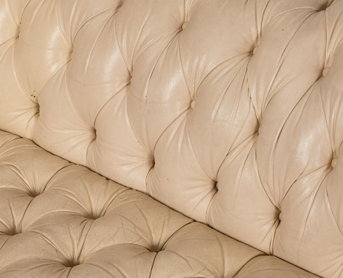 White Leather Chesterfield Sofa - 5