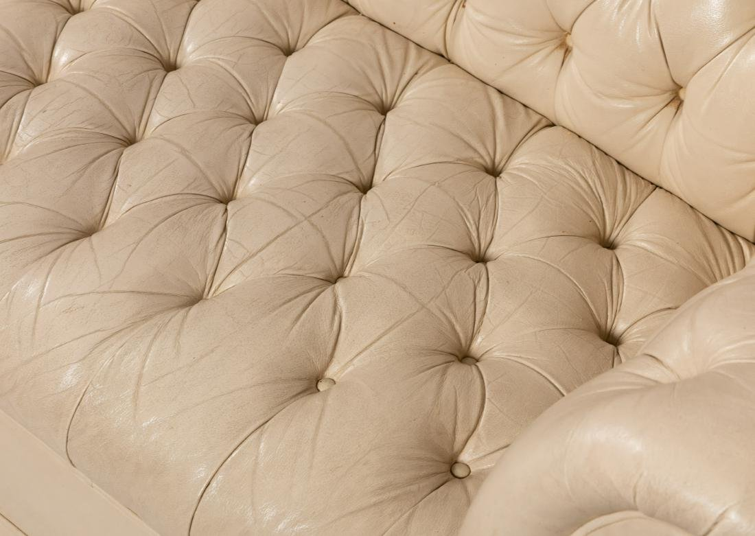 White Leather Chesterfield Sofa - 3