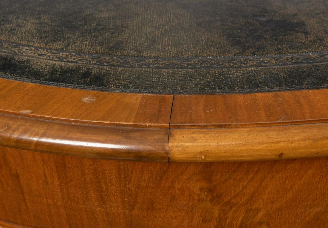 Walnut Leather Top Center Table - 3
