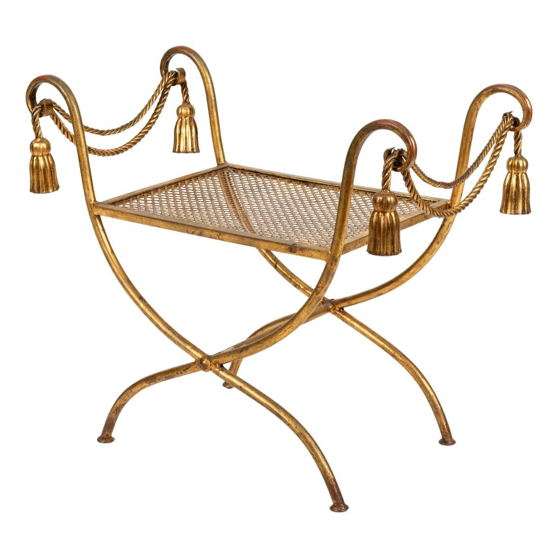 Gilt Metal Rope Tassel Bench