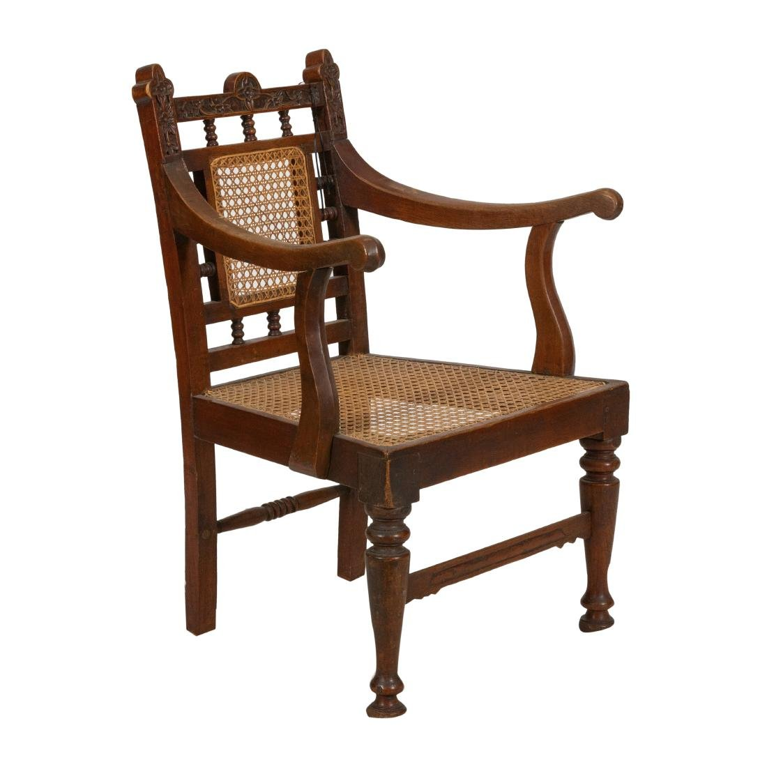 Carved Oak & Cane Chair