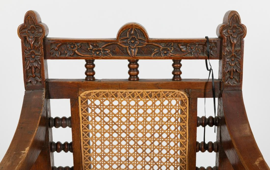 Carved Oak & Cane Chair - 2