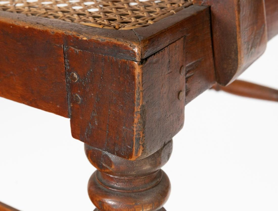 Carved Oak & Cane Chair - 4