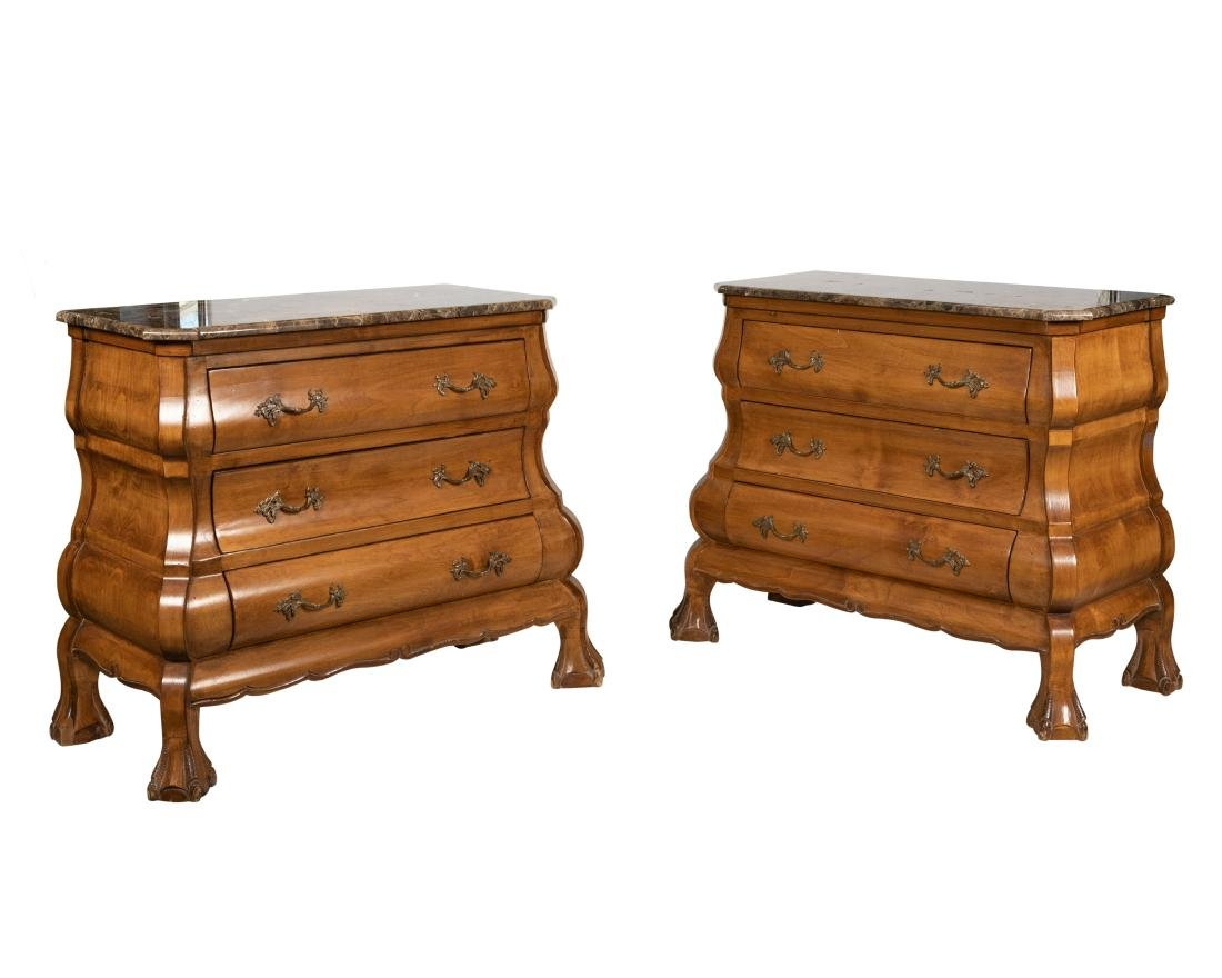 French Marble Top Chests - Pair