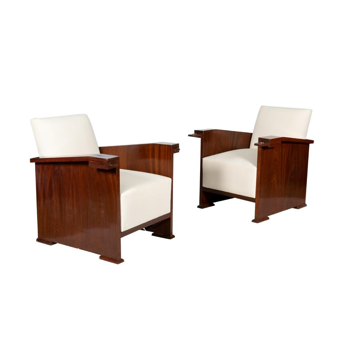 Pair Mahogany Deco Chairs