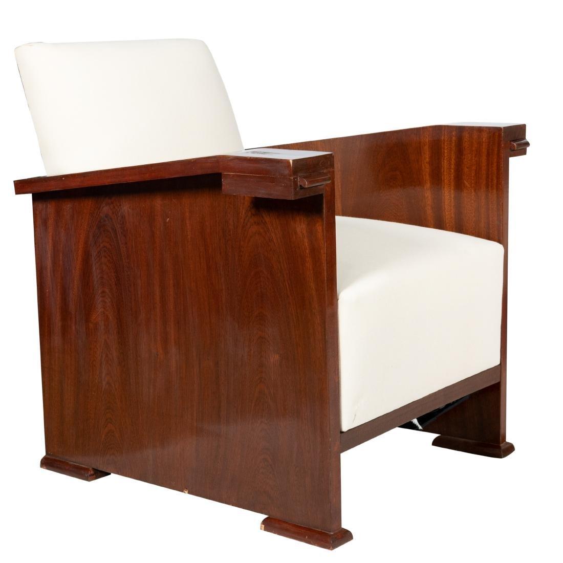 Pair Mahogany Deco Chairs - 2