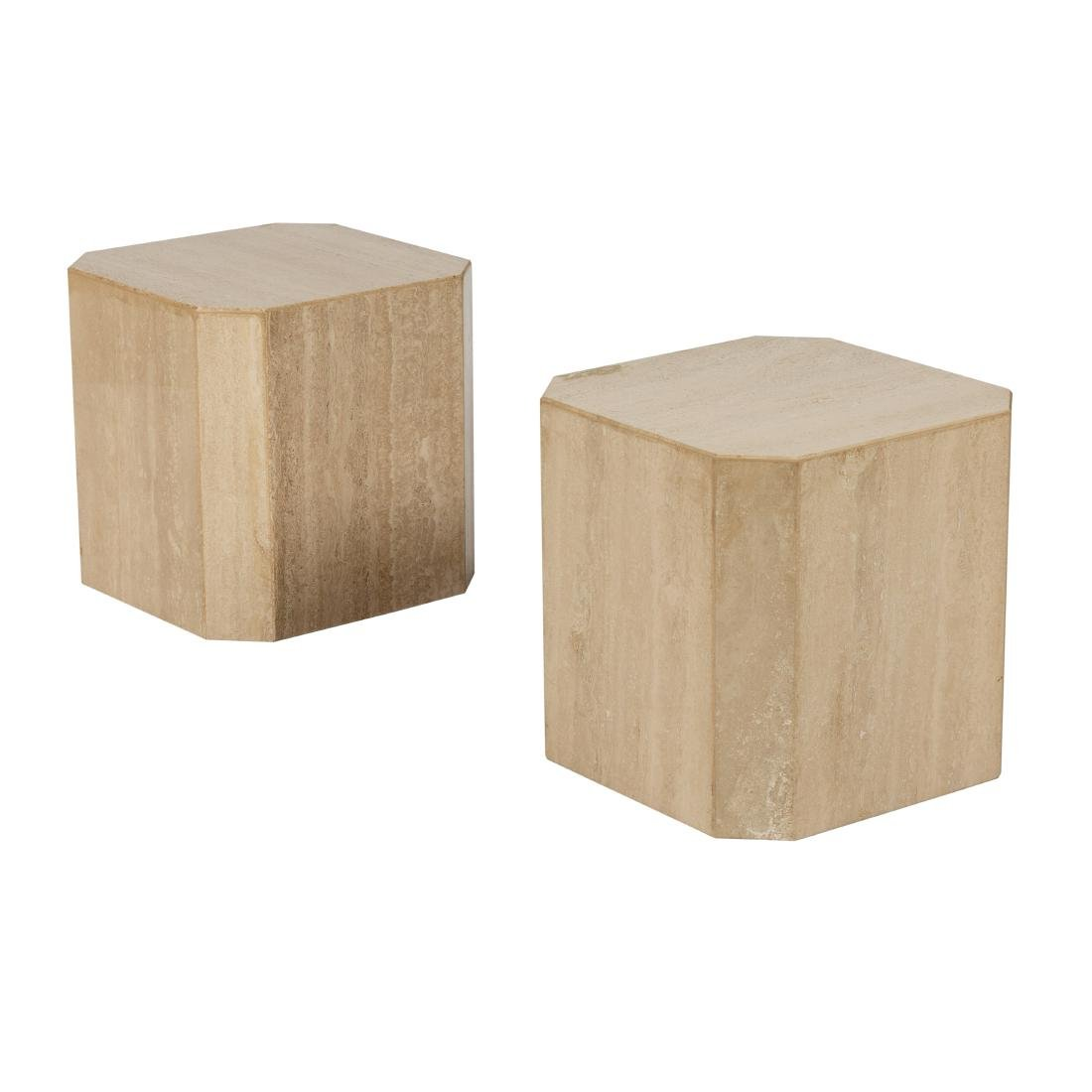 Travertine Marble Pedestal Side Tables