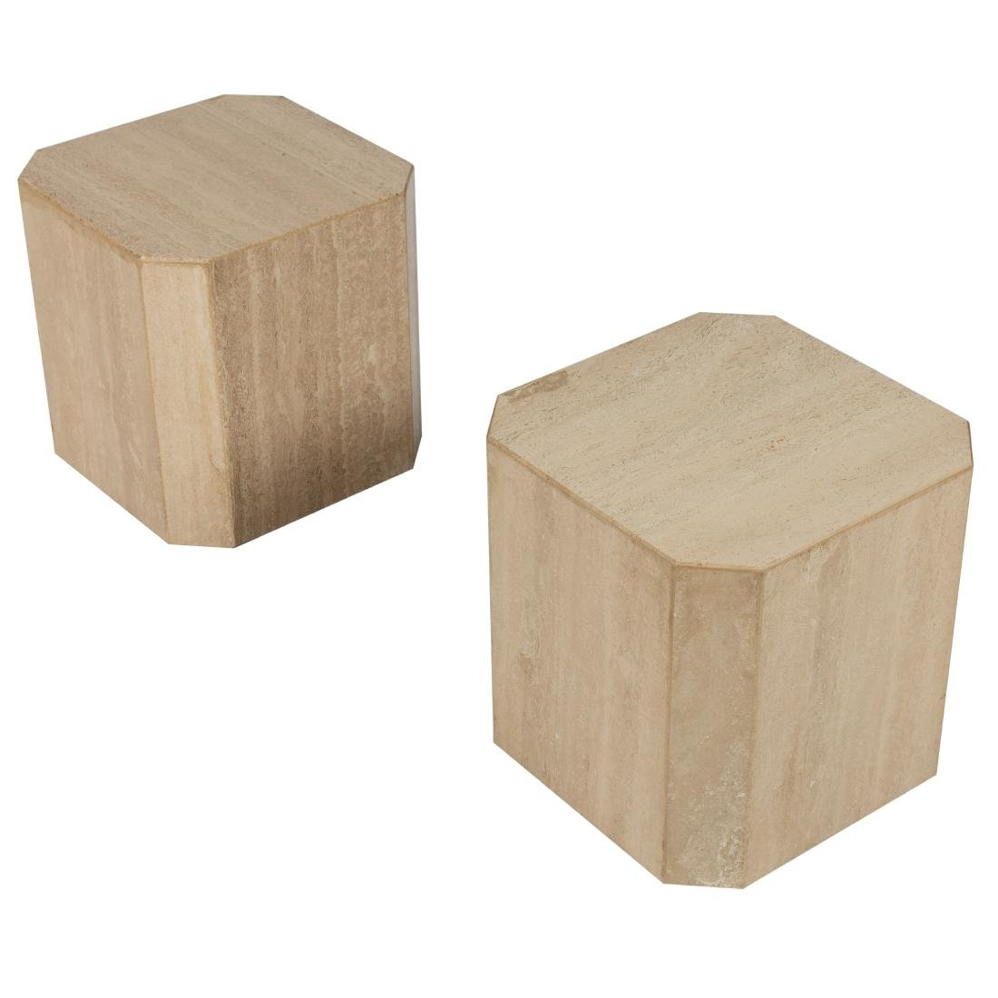 Travertine Marble Pedestal Side Tables - 2