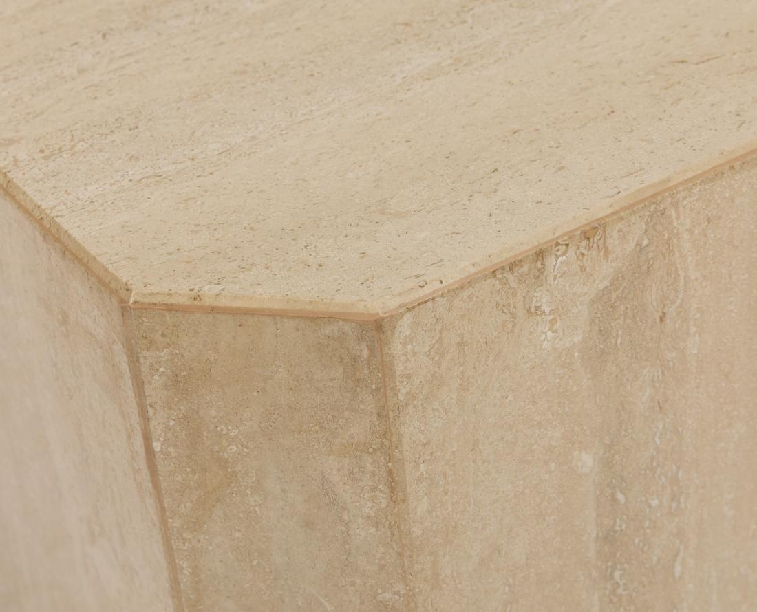 Travertine Marble Pedestal Side Tables - 3