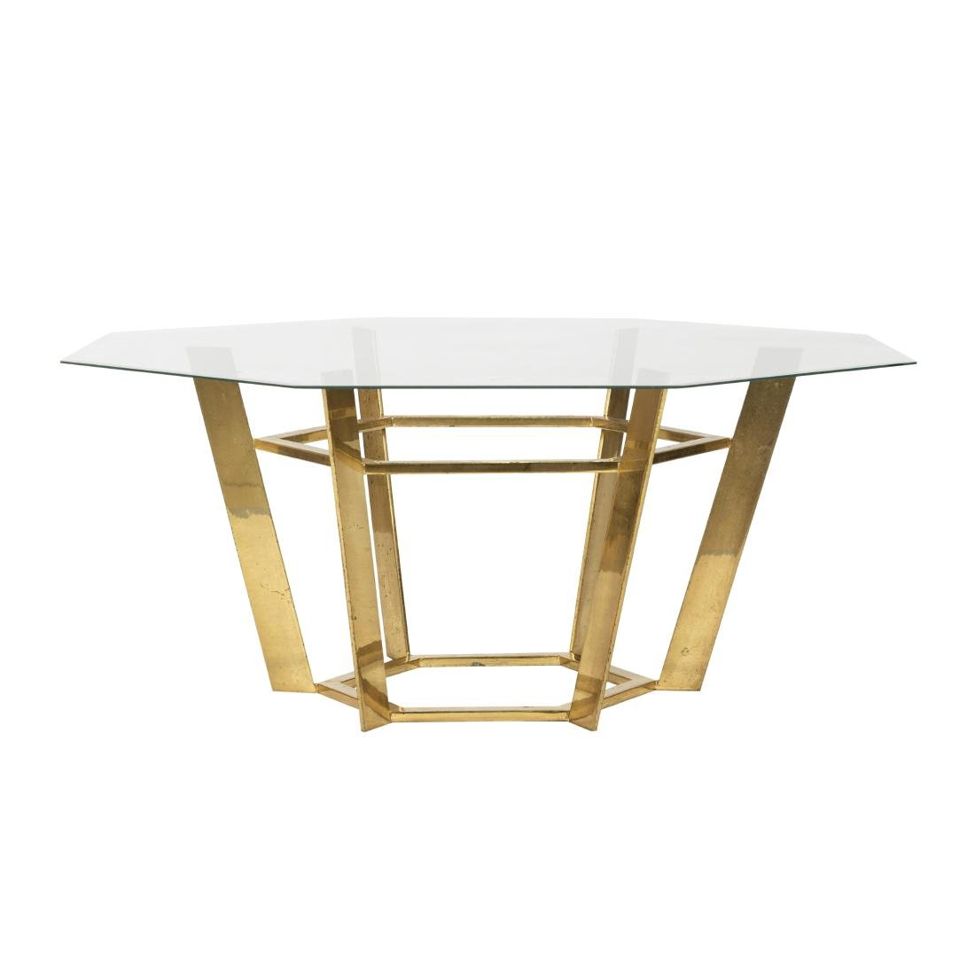 Octagonal Solid Brass & Glass Table
