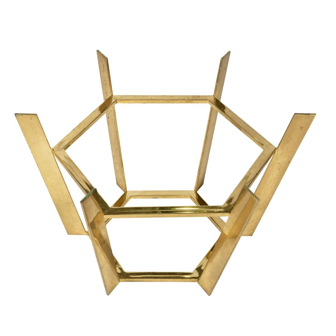 Octagonal Solid Brass & Glass Table - 2