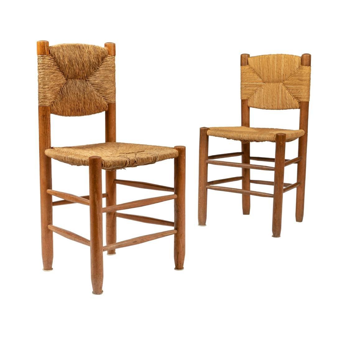 Charlotte Perriand - Oak & Rush Chairs - Pair