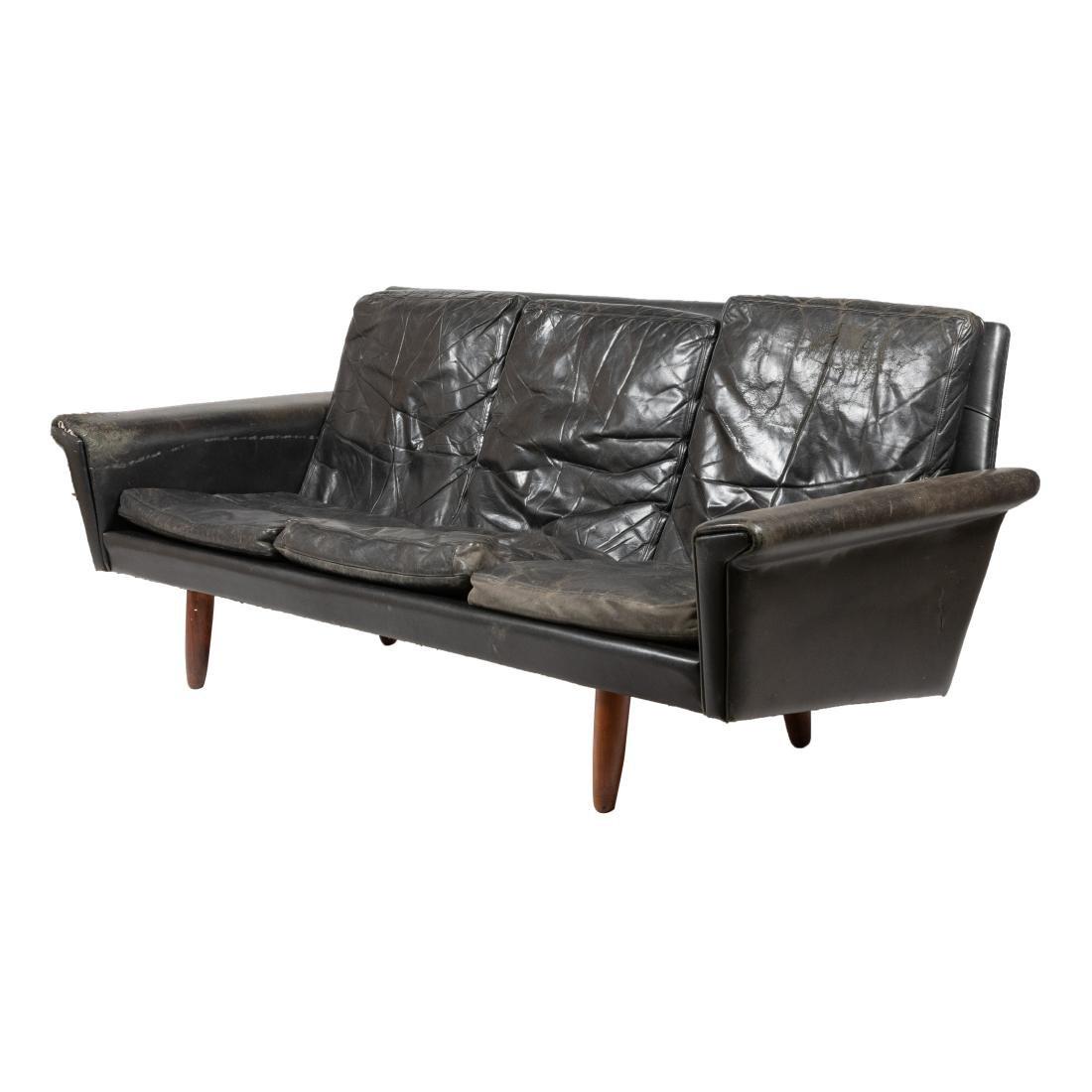 Danish Rosewood and Leather Sofa