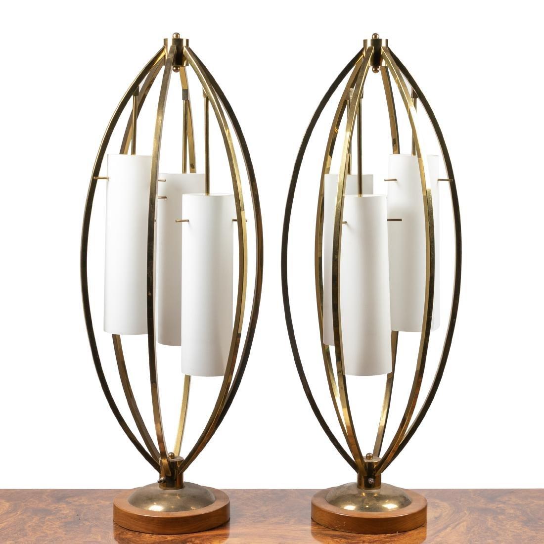 Brass 3-Light Lamps - Pair