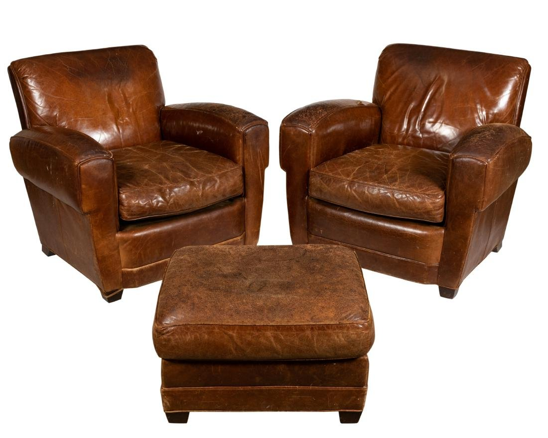 Pleasing Leather Club Chair And Ottoman Ncnpc Chair Design For Home Ncnpcorg