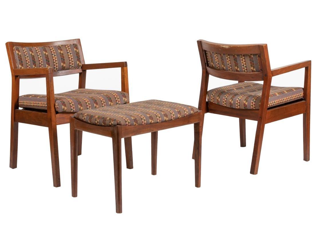 Walnut Armchairs & Ottoman