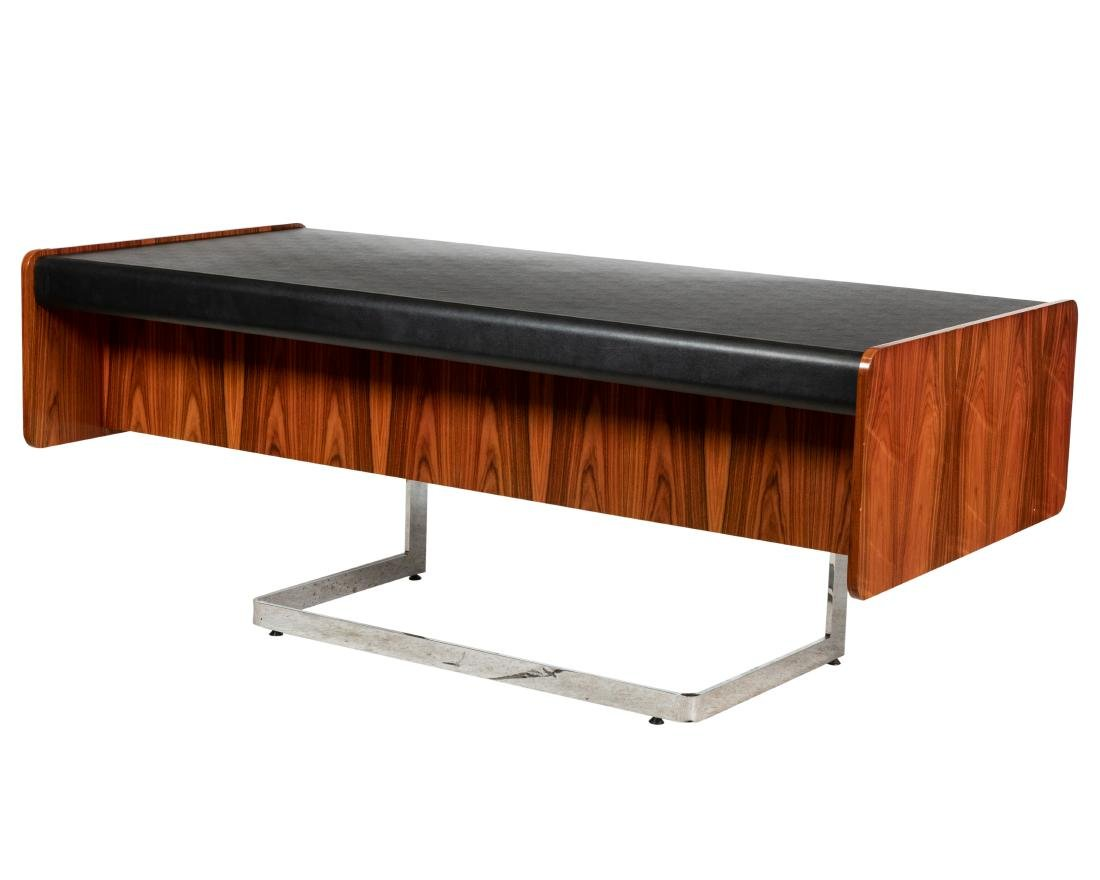 Cantilevered Faux Rosewood & Chrome Desk - 3