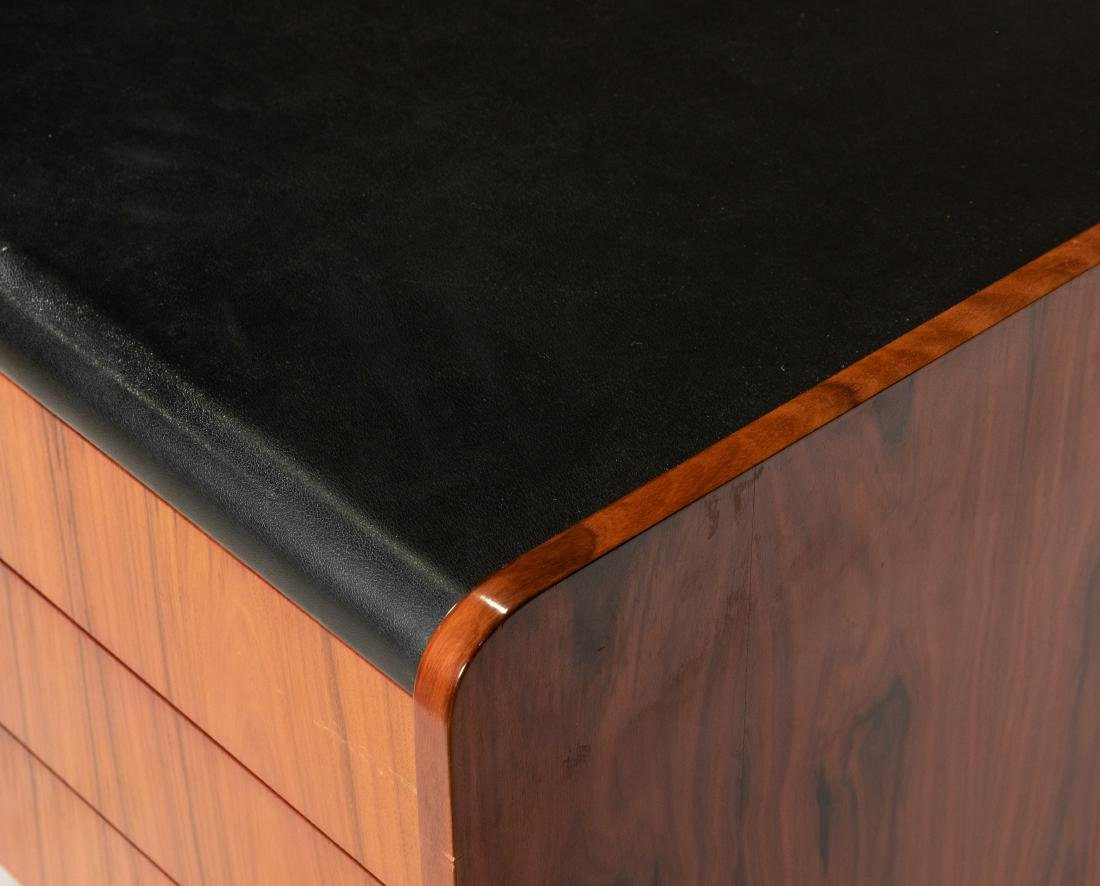 Cantilevered Faux Rosewood & Chrome Desk - 5