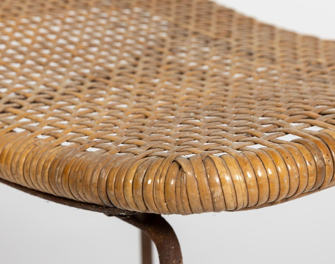 Woven Wicker and Chrome Stools - 2