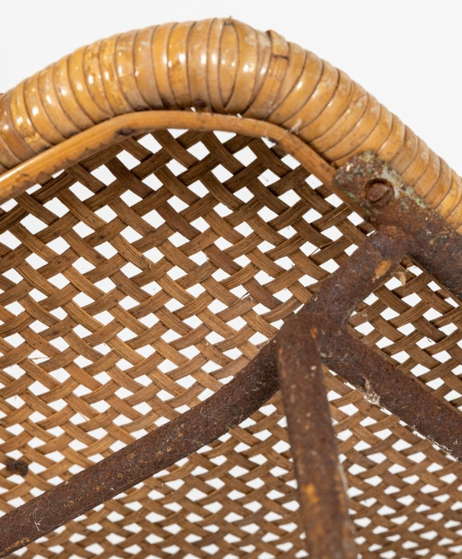 Woven Wicker and Chrome Stools - 3