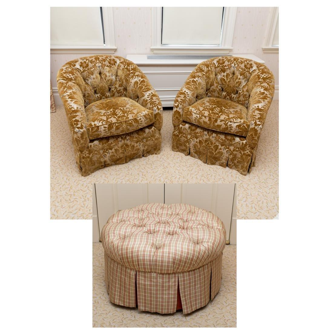 Edward Farrell - Chairs & Tufted Ottoman