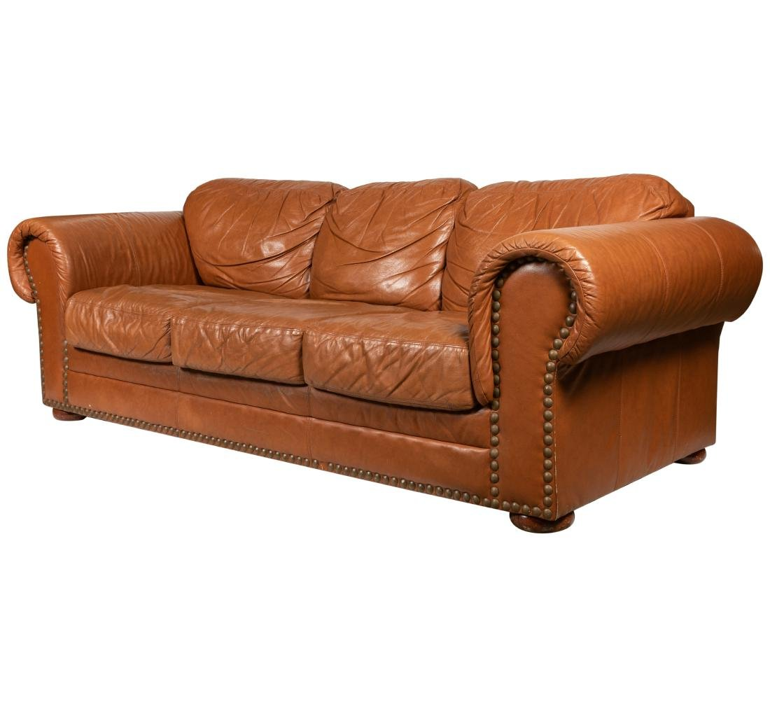 Leather Brass Studded Sofa