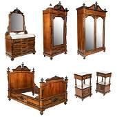 Victorian Ebony & Burl Bedroom Suite - 6 Pieces