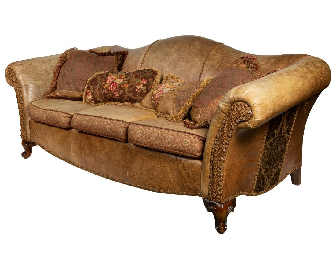 Distressed Leather & Upholstery Sofa