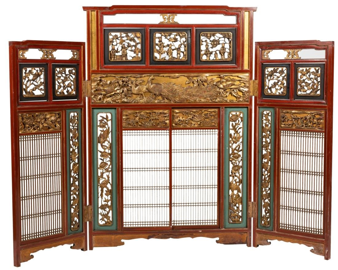 Oriental Carved, Lacquered & Gilt Wood Screen