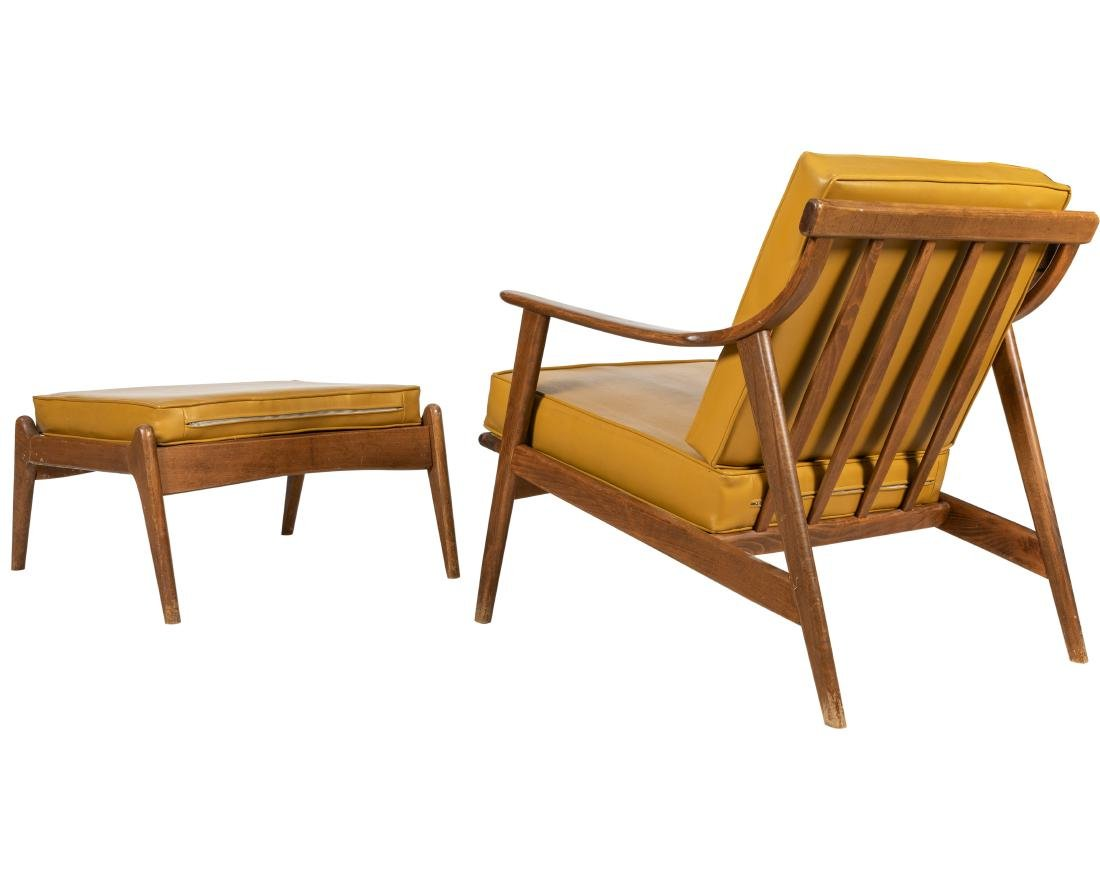 Mid Century Modern - Walnut - Chair & Ottoman