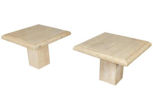 Travertine Marble Pedestal End Tables Aug 02 2019 Regency