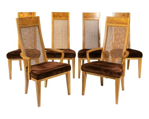 Phenomenal Lane Burl And Cane Dining Chairs Six Ncnpc Chair Design For Home Ncnpcorg