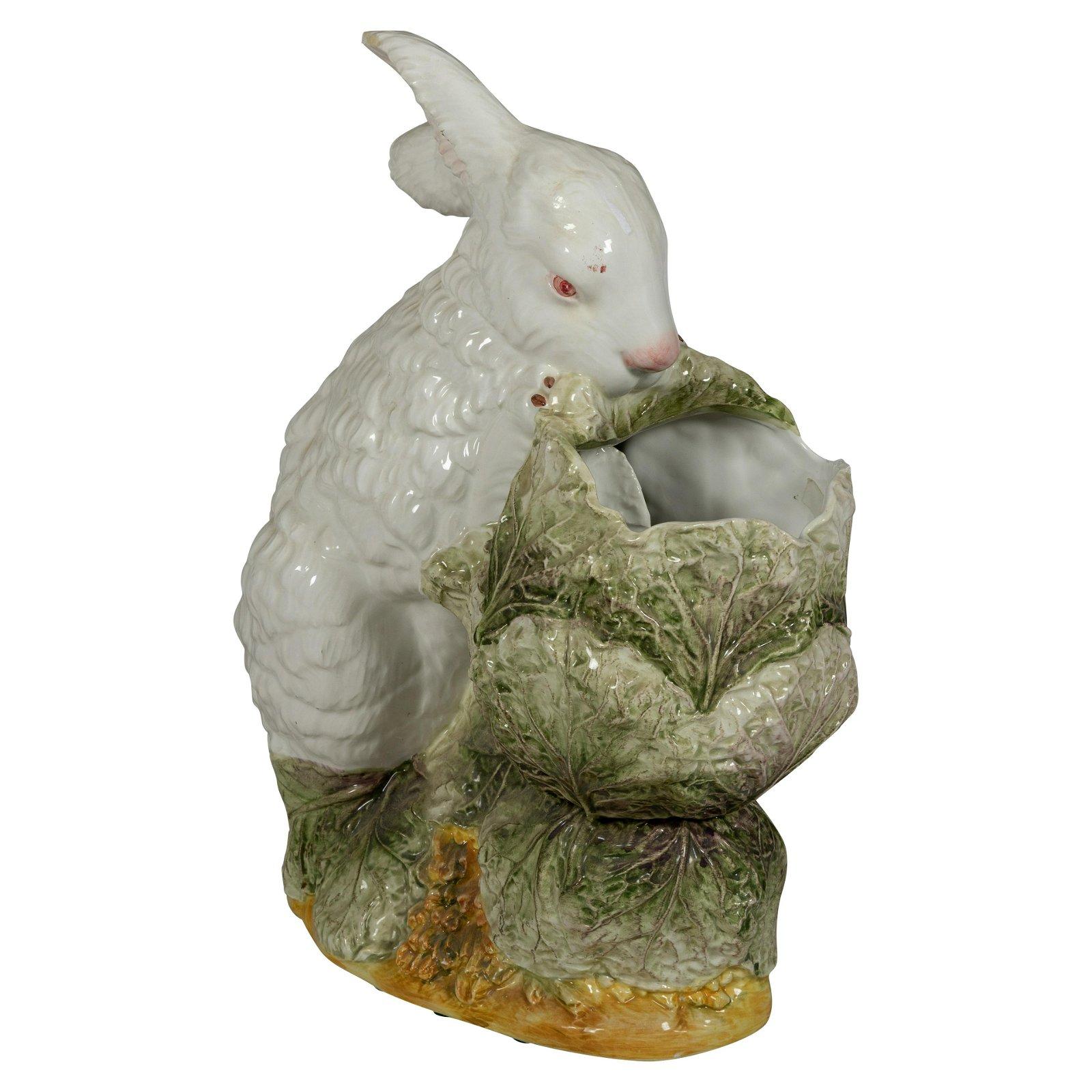 Italian Majolica Rabbit Planter