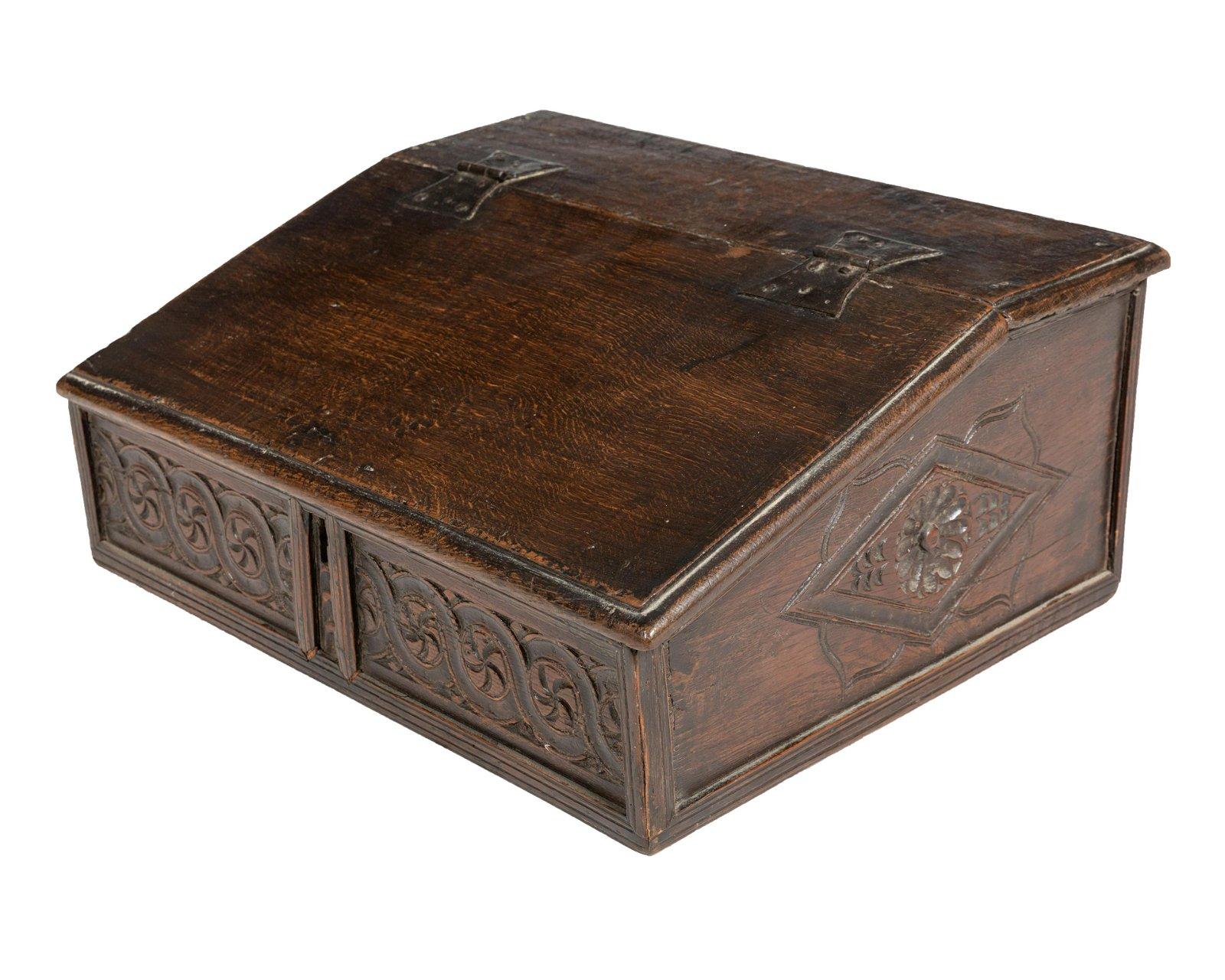 Carved Oak Slant Table Top Desk