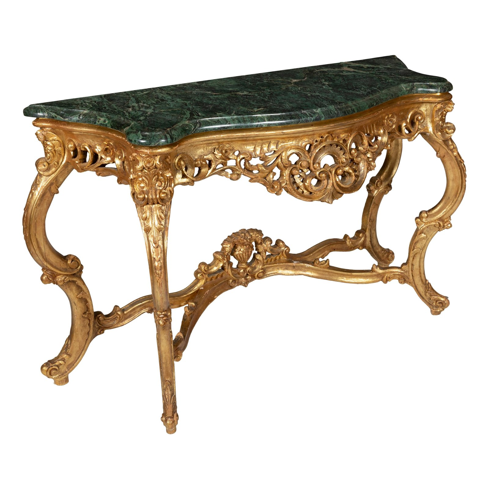Heavily Carved Giltwood Marble Top Console