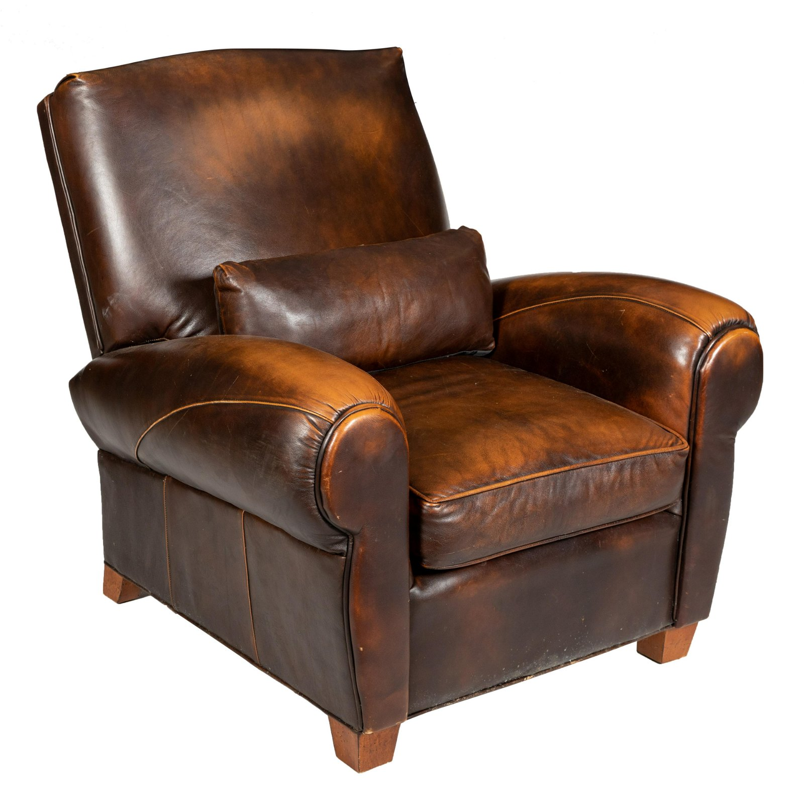 Brown Leather Reclining Club Chair