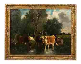 Emile van Marcke - Oil on Canvas