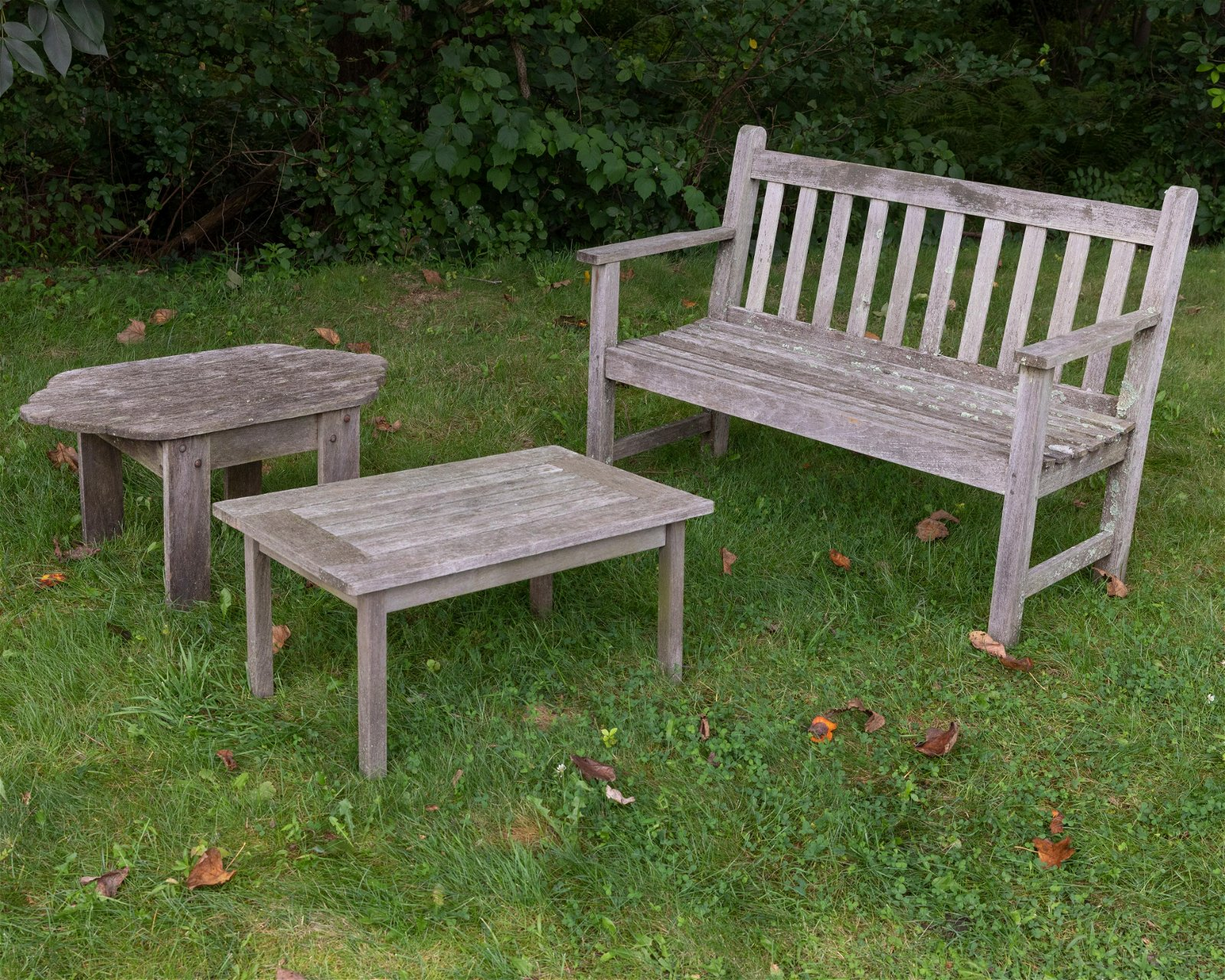 Teak Bench and Two Tables