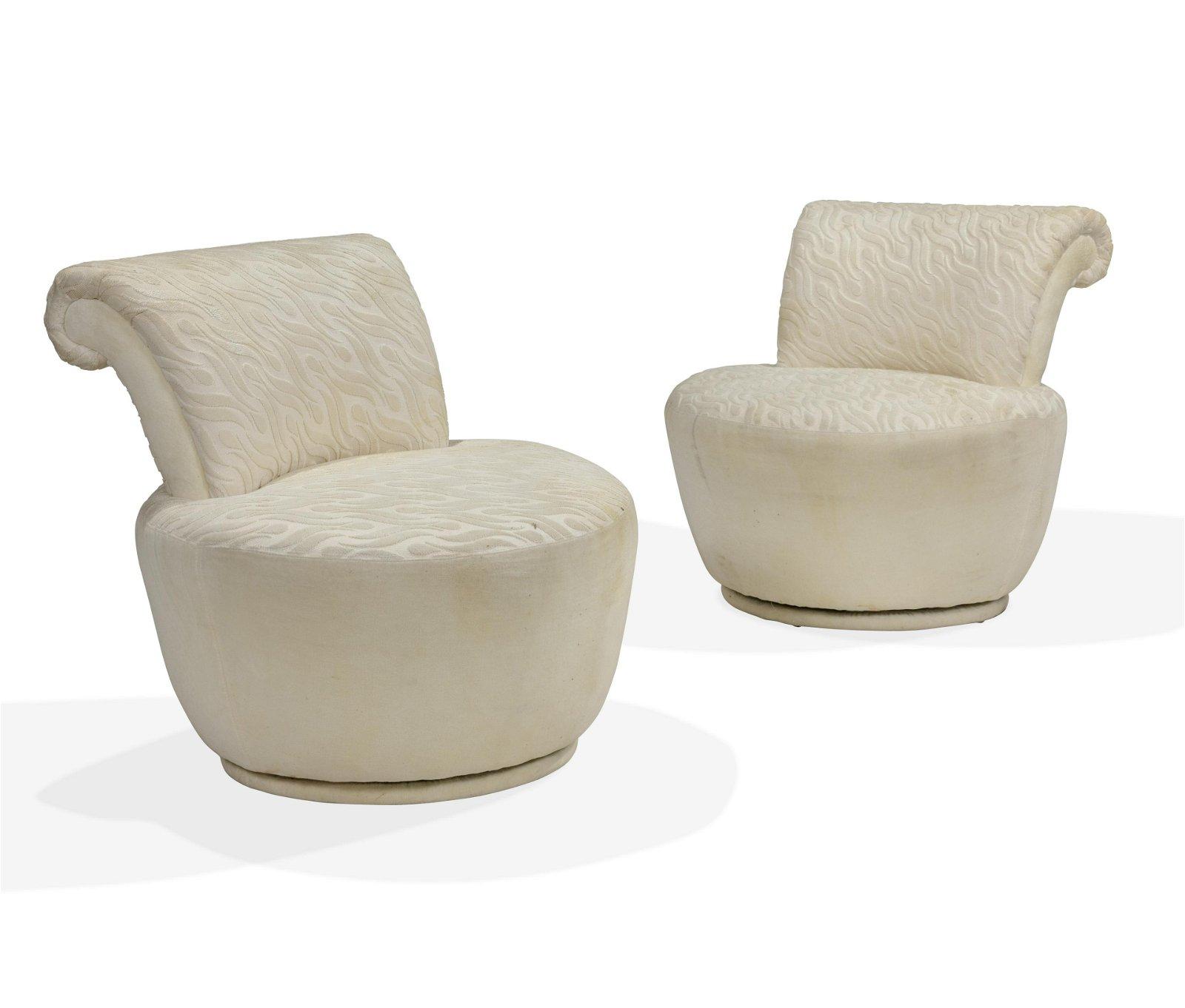 Vladimir Kagan (Attr.) Weiman Pouf Swivel Chairs