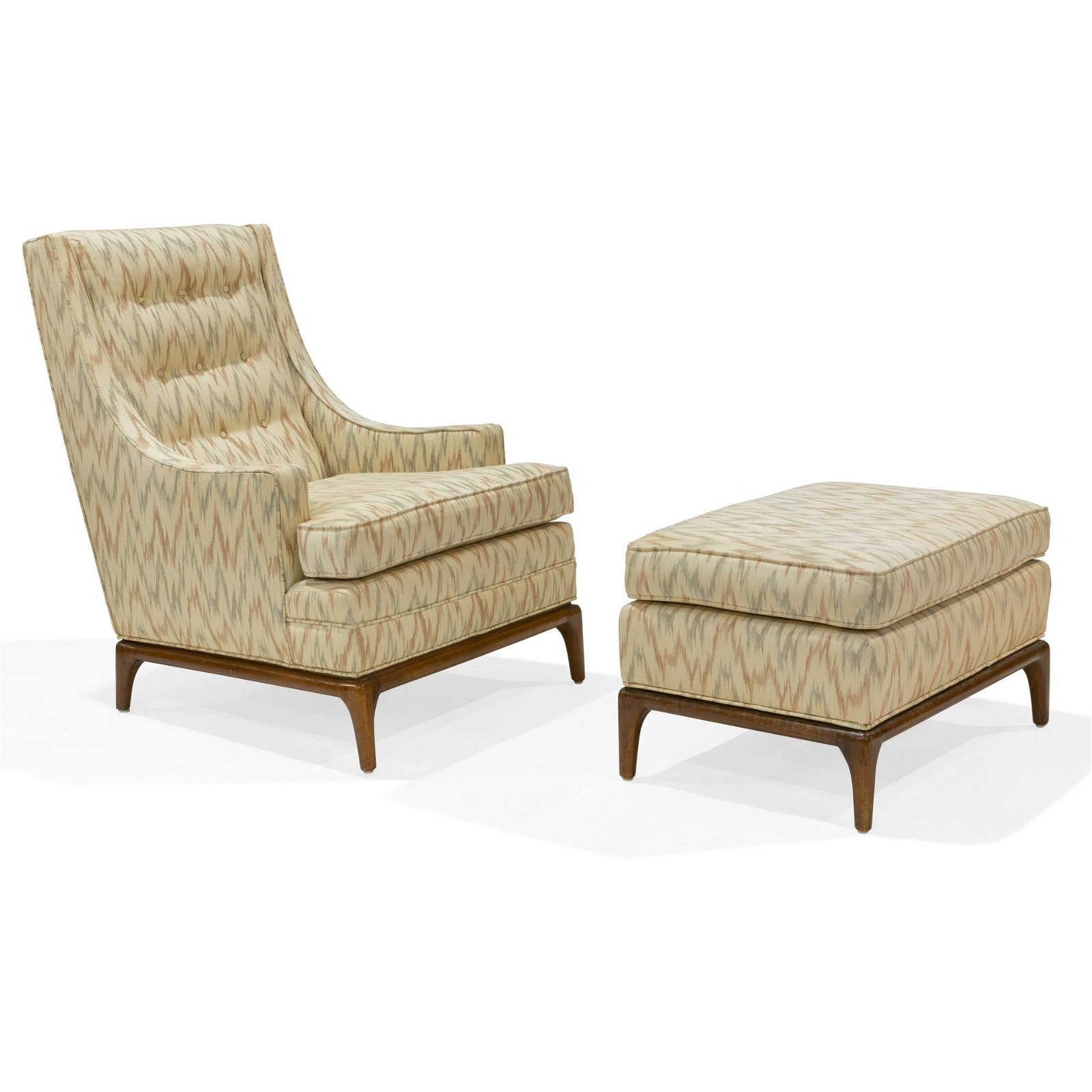 T.H. Robsjohn-Gibbings Style Chair and Ottoman